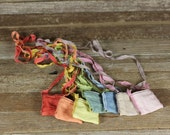 plant dyed linen treasure pockets with silk straps: by kata golda