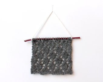 Mid Modern Wall Art, Grey Knit Lace, Wall Decor Knit, Knitted Wall Decor, Wall Hanging, Mid Modern Art, Fiber Wall Hanging, Textile Wall