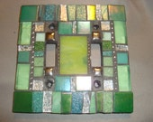 MOSAIC LIGHT SWITCH Plate, Double, Wall Art, Wall Plate, Green, Silver, Teal