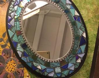 BLUE OVAL Mosaic Mirror