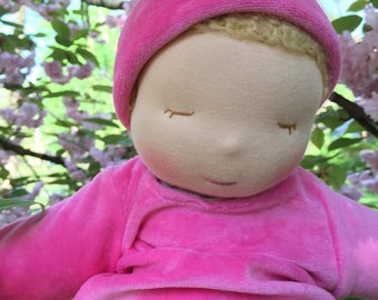Ready to Go Weighted Waldorf Baby Doll Removable Organic Gown for Easy Laundering 14 Inch Tranquil Tot