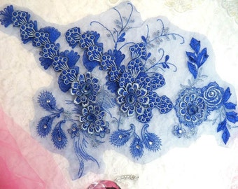 """Embroidered 3D Applique Blue Silver Floral Ballet Sequin Patch Rhinestone Accented 16"""" (DH73-blsl)"""