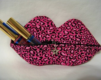 Zippy Lips in Cheetah on Pink - Makeup Pouch - Coin Purse - Lipstick Pouch - Ready To Ship
