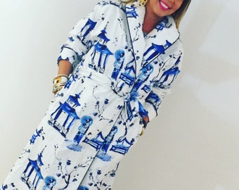 Monogram geisha girl flannel robe LG/XL