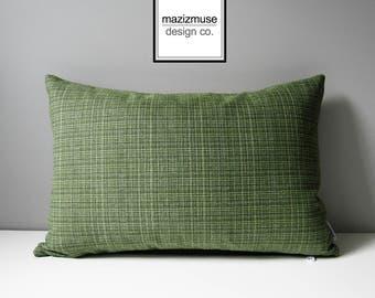SALE - Decorative Green Pillow Cover, Modern Tweed Pillow Cover, Decorative Pillow Case, Masculine Olive Green Sunbrella Cushion Cover