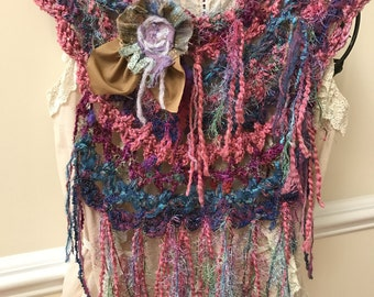 Soft, Dreamy Art to Wear Crochet Necklace Scarf with Flower Pin