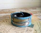 "Spoon Handle Cuff Bracelet, Turquoise Leather Cuff Bracelet, ""Vintage Soul"" Spoon Handle Bracelet, Belt Cuff, Distressed Turquoise Cuff"