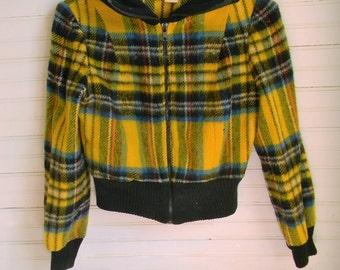 Boys Vintage Jacket, Wool Jacket, Yellow Plaid Jacket, 1960s Jackets, Yellow Plaid Jacket, Boys Small Wool Jacket, Boys Yellow Wool Coat