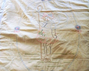 Vintage Embroidered Bed Spread, Bo Peep Embroidered Spread, Crib Blanket, Youth Bed Coverlet Blue and White Childrens Bed Linens Embroidered