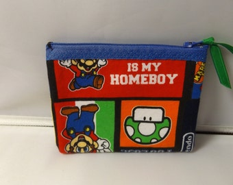Super Mario Fabric Coin Purse- Handmade  Nintendo- Mushroom Man