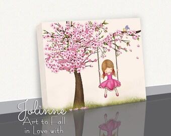 Cherry blossom tree Canvas Art for girls nursery, girls room artwork,kids wall art,kids room decor,Children playroom decor,nursery art