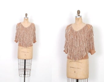 Vintage 1980s Top / 80s French Rags Fringe Sweater / Beige ( S M )