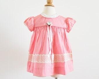 """Vintage 1960s Girls Size 2 Dress / Pink White Polka Dot Cotton A-Line Dress / b26"""" L17"""""""