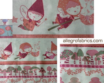 HTF OOP one yard Pocket Pixie Alexander Henry Fabric Blush Pink Fairy Fairies Stripe