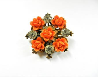 Victorian brooch, pink salmon carved celluloid Rose & clear rhinestones - Nostalgic old European pin,lovely floral arrangement - Art.715/4