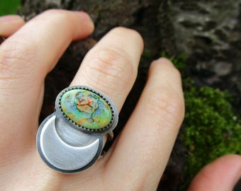 opal sterling silver ring - moon ring - opal ring - monarch opal - crescent moon - cultured opal ring