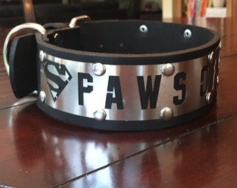 "Paws of Steel Superman Stainless Steel Latigo Leather Dog Collar-2"" inches wide"