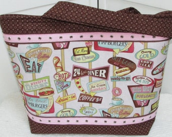Route 66 Drive In Diner Large Tote Bag Retro 50's Cafe Tote bag Pink and Brown Purse Shoulkder Bag Ready To Ship