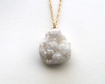 White sparkling druzy agate pendant necklace on gold plated chain, bohemian gemstone jewelry