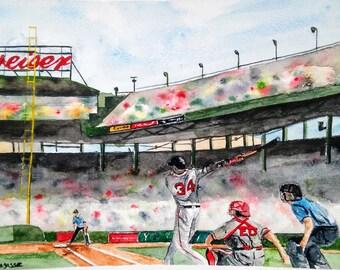 "DAVID ORTIZ, Watercolor Print, Red Sox Painting, , Watercolor Print ORIGINAL - Open Edition ""Big Pap"" David Ortiz-Fenway Park"