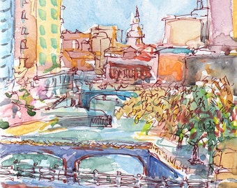 Cityscape, providence, RI painting