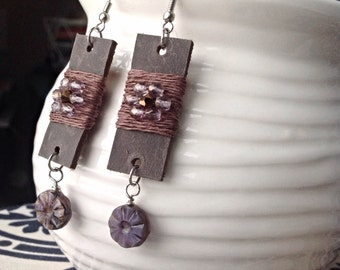Leather Earrings with Lavender Beads