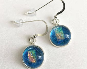 Dangling Dichroic Glass Earrings – Sparkling Blue Earrings with Colorful Rose and Green Accents – 38-17