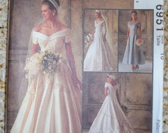 McCall's 6951 Bridal Gowns and Bridesmaids Dress Pattern Size 10 UNCUT