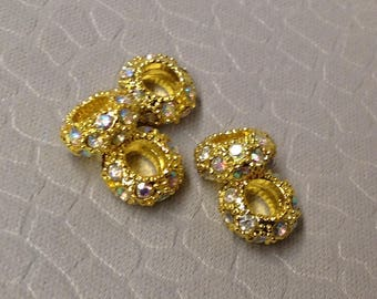 European style Gold with Clear AB Rhinestone Bling beads little lot of Five Mix and Match add to bracelet (NOT INCLUDED)