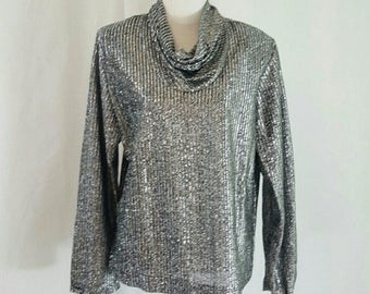 Vintage Silver Lame DIsco Cowl Neck Top L