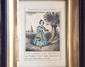 Vintage children book illustration, framed children's book page, virtue illustration, selfishness saying, brother gift, sister gift feminist