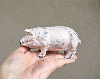 Vintage painted cast iron pig door stop, pig lover gift, hog collectible, farmhouse decor, farmyard animal pink pig paperweight, Year of Pig