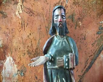 Vintage Guatemala folk art saint wood carving santos, religious folk art sculpture, saint dolls, Catholic art, Catholic statue primitive art