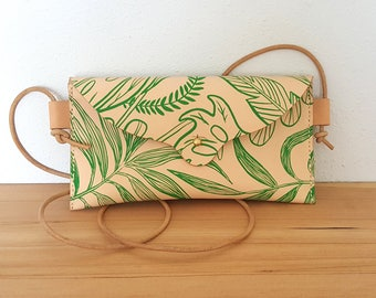 Hand Stitched Leather Mini Crossbody Bag in Tropical