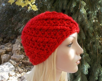 Red Beanie Hat, Gifts for Teenagers, Hand Crochet Chunky Winter Hat, Cute Hats for Teen Girl or Women, Chunky Beanie, Red Hat, Skull Cap