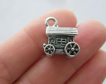 BULK 10 Caravan charms antique silver tone TT51