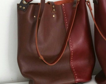 Burgundy and brown upcylced leather tote