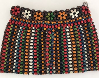 Vintage 30s Wooden Beaded Clutch Colorful