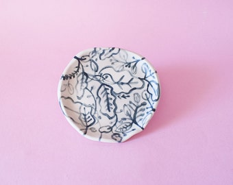 Floral Round Ceramic Plate, Floral Round Hand-Built Pottery Plate, Floral Round Trinket Dish