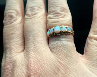 Opal Eternity Band - 9k Gold - Wedding Jewelry - Vintage
