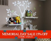Memorial Day Sale - Tree Wall Decals - The ORIGINAL Shelving Tree with Birds
