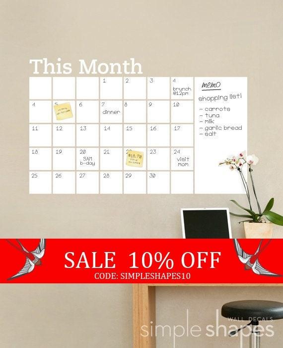 Sale - Dry Erase Wall Calendar with Memo - Vinyl Wall Decal