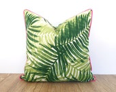 Palm leaf pillow cover in outdoor fabric Tommy Bahama, tropical outdoor pillow pink piping, green outdoor cushion swaying palm leaf
