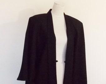 Men's KIMONO jacket HAORI wool mix black SAMURAI style Large ready to ship