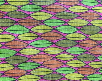 "Cotton FABRIC 2 yd x 36"" VINTAGE multi colors orange green yellow pink"
