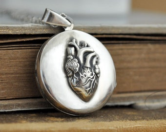 sterling silver locket necklace, heart locket, anatomically correct heart, anatomical heart, love locket necklace, 925 sterling silver