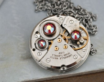JE T'AIME antique silver steampunk watch movement necklace with Swarovski rhinestones