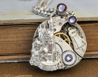 steampunk necklace - ONCE UPON a TIME - antique year 1900s Elgin watch movement necklace with castle and Swarovski Tanzanite rhinestones