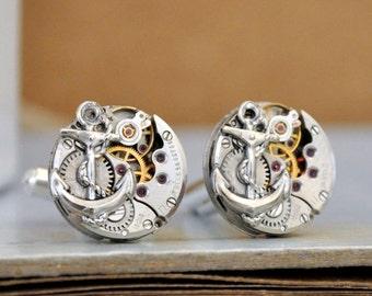 steampunk cufflinks, round anchor cuff links, watch movement cuffs, JOURNEY, vintage 17 jeweled watch movement, anchor cuff links,