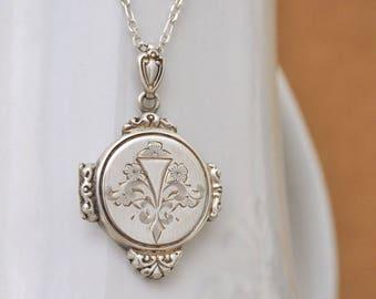 sterling silver round locket pendant, VINTAGE FIND sterling silver locket container, Victorian style, old locket necklace, gift for her,